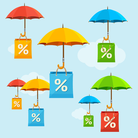 spend the summer: Umbrella Sale Concept. Seasonal reduction of prices. Vector illustration