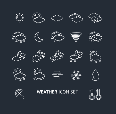 windy day: Weather Outline Icon Set Isolated On Black Background. The Concept of Weather Change.