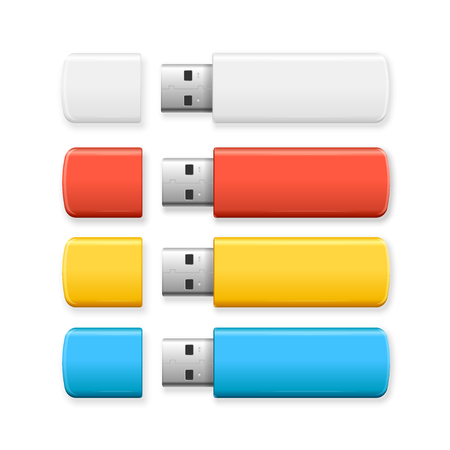 usb disk: USB Flash Drive Colorful Set. Vector illustration