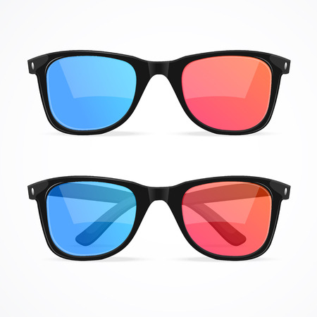 3D glasses: 3d Glasses for Cinema Set. Vector illustration
