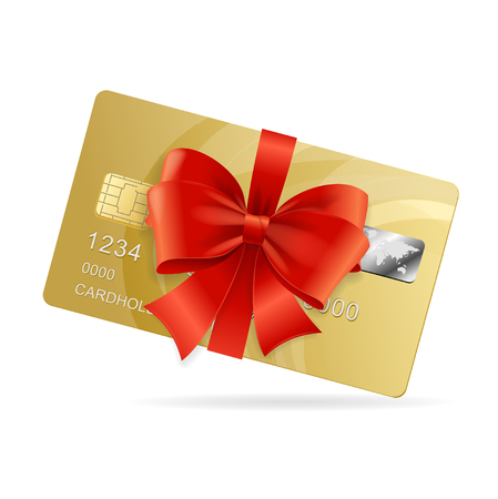 Credit Card Present. The Concept Of A Luxury Product.  Vector illustration Vettoriali
