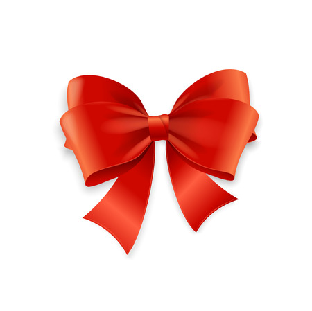 red ribbon bow: Red Bow Isolated on White Background. Vector illustration