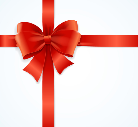 red and white: Red Satin Ribbon Suitable for Gift Boxes. Vector illustration