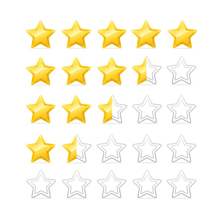 golden star: Stars Rating. Bright and Shiny. Vector illustration