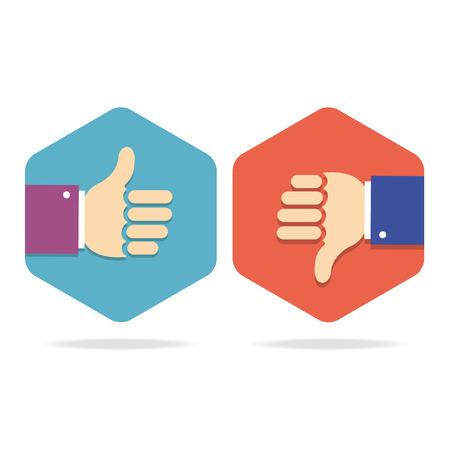 Thumbs Up Icons Set. Flat Style for Social Network. Vector illustration Ilustração