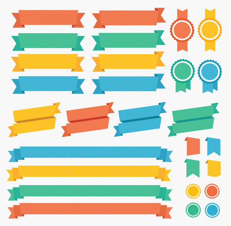 scroll background: Ribbon and Labels Colorful Set. Vector illustration