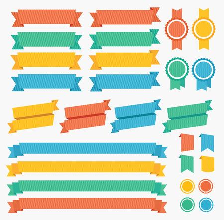 Wstążki i etykiety zestaw kolorowych. ilustracji wektorowych