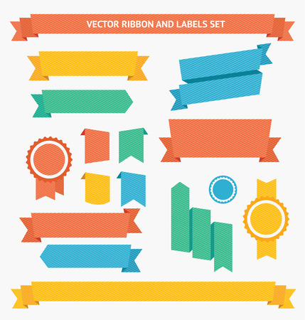 green banner: Ribbon and Labels Set. Flat Design. Vector illustration