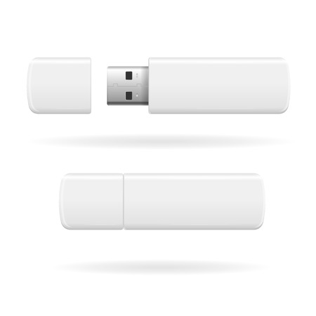 usb disk: USB Flash Drive White and Empty. Vector illustration