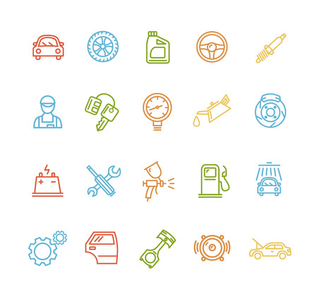 gear icon: Car Service Outline Colorful Icons Set. Vector illustration