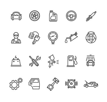 Car Service Outline Icons Set. Vector illustration