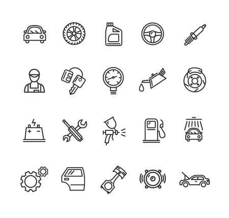 Car Service Outline Icons Set. Vector illustration