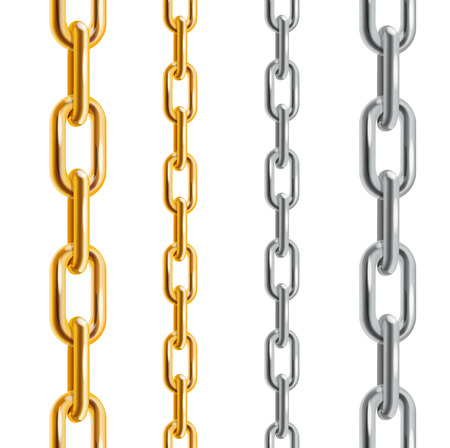 silver metal: Gold and Silver Chains. Different Size. Vector illustration Illustration