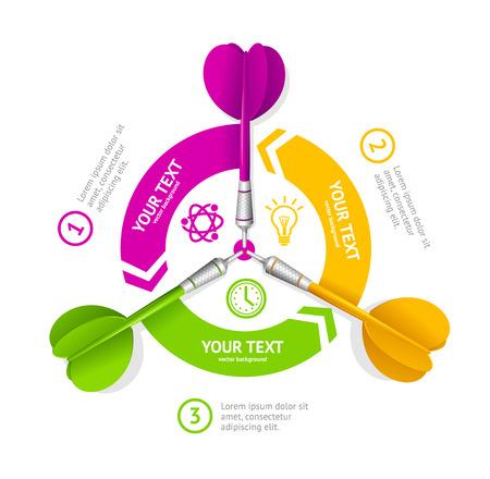 Darts Option Banner. The Achievement Of Business Goals. Vector illustration