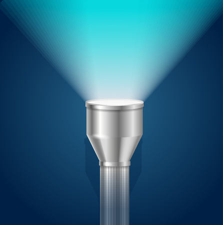 pocket flashlight: Pocket Torch Light Flashlight Blue Shining . Vector illustration