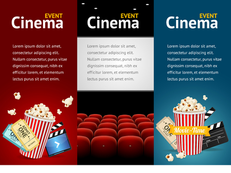 Realistic Cinema Movie Poster Template. Vertical Set. Vector illustration Imagens - 46106112