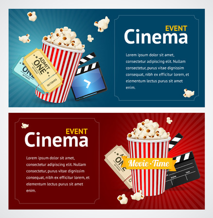 movie and popcorn: Realistic Cinema Movie Poster Template. Horizontal Set. Vector illustration