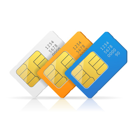 Sim Card Set with Reflection. Vector illustration