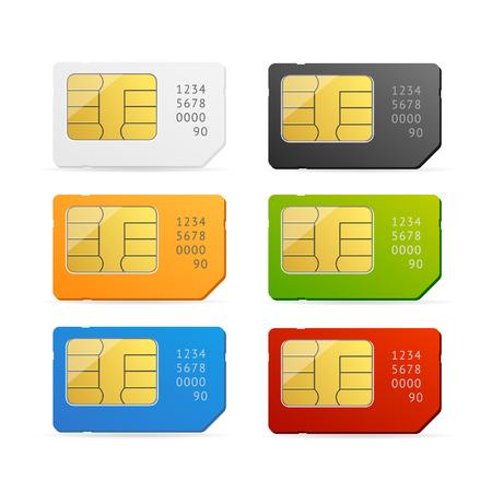 prepaid card: Sim Card Colorful Set Isolated. Vector illustration