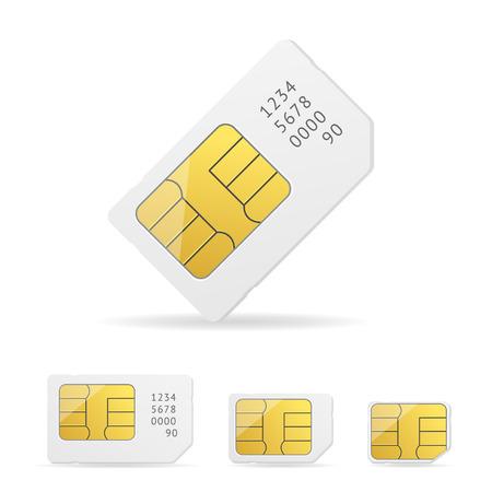 prepaid: White Sim Card Set with Number. Vector illustration Illustration