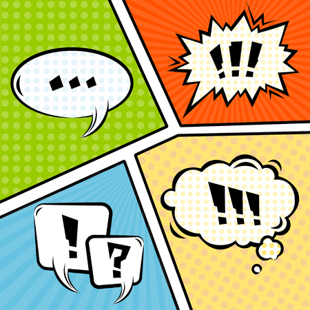 chatter: Mock-up Typical Comic Book. Different Emotions. Vector illustration
