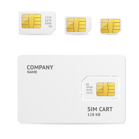 텍스트에 대 한 공간을 가진 SIM 카드를 설정합니다. 벡터 일러스트 레이 션