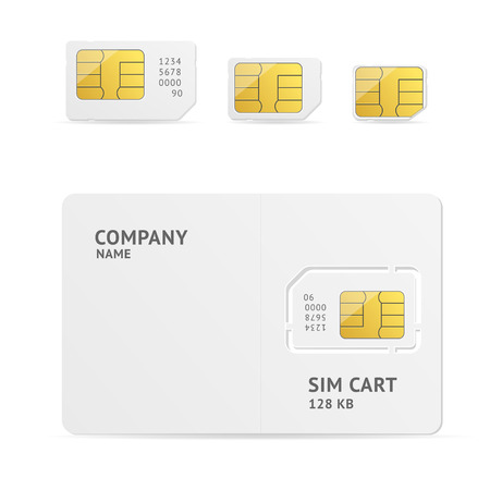 Sim Card Set With Space for Text. Vector illustration