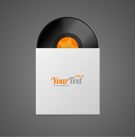 jukebox: Vinyl Record in Paper Case Isolated on Grey Background. Vector illustration Illustration
