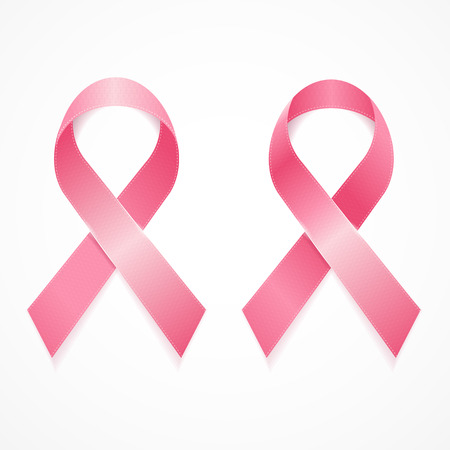 cancer ribbon: Breast Cancer Ribbon Set Isolated on White Background. Vector illustration
