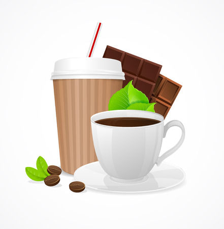 takeout: Coffee Concept. Takeout or In the Cafe. Vector illustration