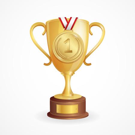 Vítězem Concept. Zlatý pohár a medaile. vektorové ilustrace Ilustrace