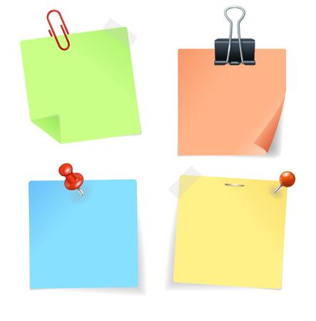 nota de papel: Etiqueta de papel colorido y Pin. ilustración vectorial Vectores