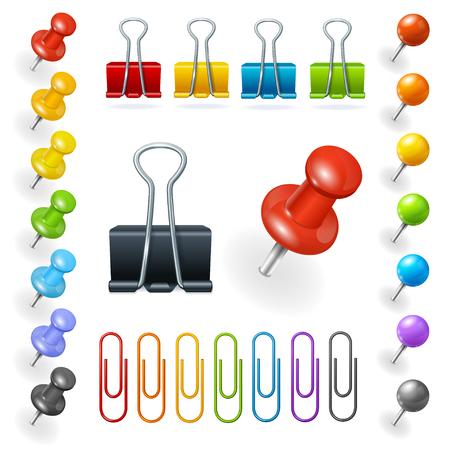 office buttons: Pins and Paper Clips Collection. Vector illustration