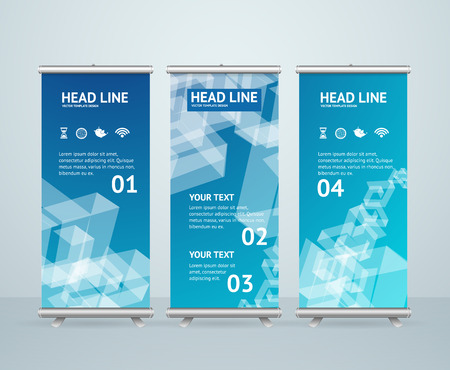 roll up: Roll Up Banner Stand Design with Abstract Blue Pattern. Vector illustration Illustration