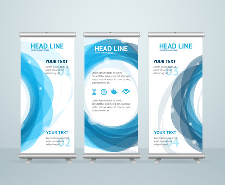 Roll Up Banner Stand Design with Abstract Ring. Vector illustration