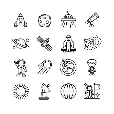 Spase Outline Black and White Icons Set. Vector illustration