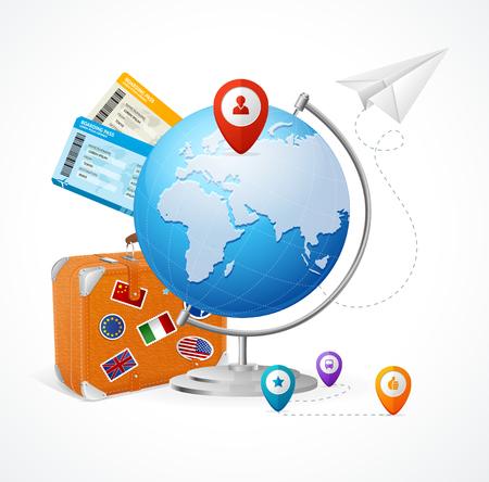 globus: Travel Concept Globe. Easy Flights around the World. Vector illustration