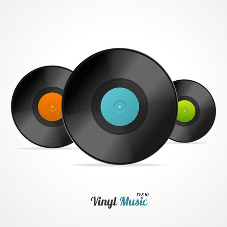 jukebox: Vinyl Record Set Isolated on White Background. Vector illustration Illustration