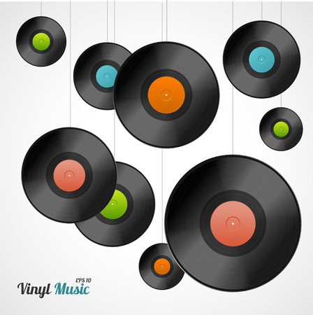 suspended: Vinyl Card. Records for Suspended Threads. Vector illustration