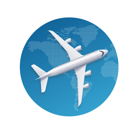 fly around: Airplane Travel Concept. To Fly Around the World. Vector illustration Illustration