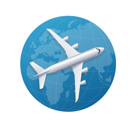 airplane travel: Airplane Travel Concept Over The Globe. Vector illustration Illustration