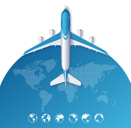 airplane travel: Airplane Travel Concept From The World Map. Vector illustration