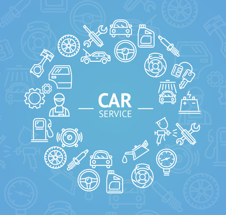 Car Service Concept With Inscription in the Center. Vector illustration Stock Illustratie