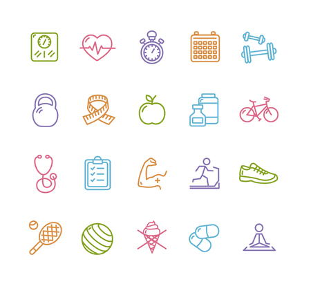Fytness Gezondheid Kleurrijke Overzicht Icon Set. Vector illustratie Stock Illustratie