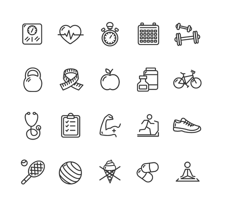 Fytness Health Outline Icon Set. Vector illustration Illustration