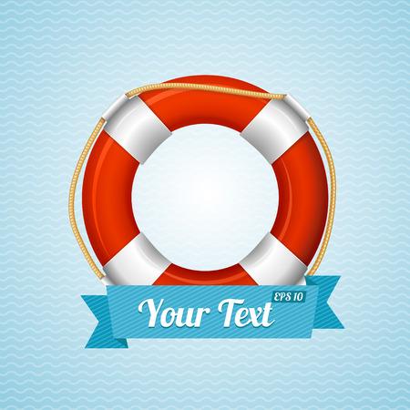 tique vie: Contexte La vie Bouy Sailor avec un espace pour votre texte. Vector illustration Illustration