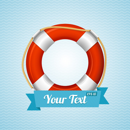 and marine life: Life Bouy Background Sailor With Space For Your Text. Vector illustration