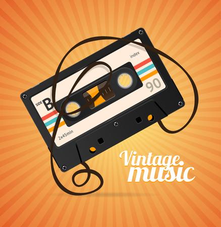 Vintage Music Background over Orange. Vector illustration