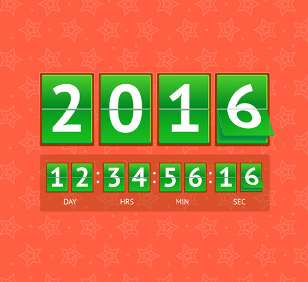 indicator board: New Year Countdown on Green Boards. Vector illustration