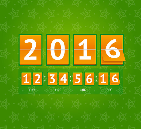 countdown: New Year Countdown on Orange Boards. Vector illustration